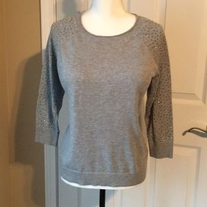 Grey Top with Gun Metal Studs on Sleeves Petite L
